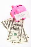 Banco Piggy 401K e dólar Imagens de Stock