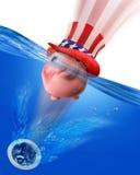Banco Piggy abaixo do dreno. Imagem de Stock
