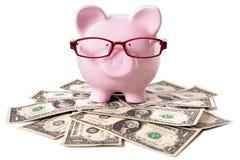 Banco Piggy com dólares Foto de Stock