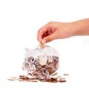 Banco Piggy com mão imagem de stock royalty free