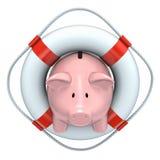 Banco Piggy com o lifebuoy ilustração do vetor