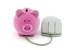 Banco Piggy com rato do computador Fotografia de Stock