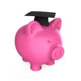Banco Piggy com tampão da graduação Imagem de Stock