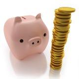 Banco Piggy cor-de-rosa com moedas Foto de Stock