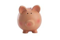 Banco Piggy cor-de-rosa isolado no branco Fotos de Stock Royalty Free