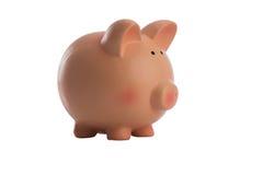 Banco piggy cor-de-rosa no branco Fotografia de Stock