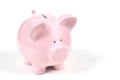 Banco Piggy cor-de-rosa no fundo branco 2 Imagens de Stock Royalty Free