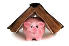 Banco piggy cor-de-rosa sob o livro velho Imagem de Stock Royalty Free
