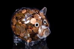 Banco Piggy desobstruído completamente de moedas de um centavo americanas Imagem de Stock