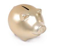 Banco piggy do ouro foto de stock