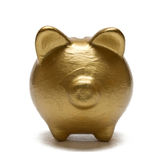 Banco Piggy do ouro Imagens de Stock Royalty Free