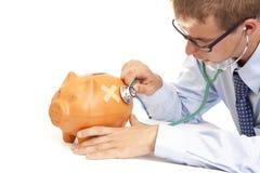Banco piggy doente Fotografia de Stock Royalty Free