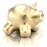 Banco piggy dourado Foto de Stock Royalty Free
