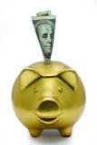 Banco piggy dourado Fotografia de Stock Royalty Free