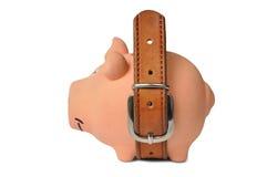 Banco Piggy e correia imagem de stock
