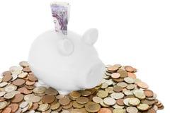Banco Piggy e dinheiro fotos de stock royalty free