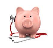 Banco Piggy e estetoscópio Imagens de Stock Royalty Free