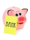 Banco Piggy e papel de nota Imagens de Stock