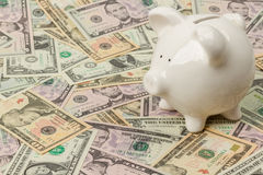 Banco Piggy em contas de dólar Foto de Stock Royalty Free