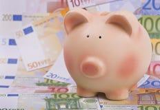 Banco Piggy em euro- notas de banco Fotografia de Stock