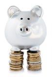 Banco Piggy em pilhas da moeda Fotos de Stock