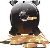 Banco piggy preto Imagem de Stock Royalty Free
