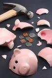 Banco Piggy quebrado fotografia de stock royalty free