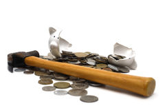 Banco Piggy quebrado (no branco) Imagem de Stock Royalty Free