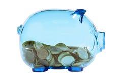 Banco piggy transparente Imagens de Stock Royalty Free