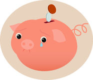 Banco piggy triste Fotos de Stock Royalty Free