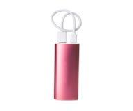 Banco portátil cor-de-rosa do poder para carregar os dispositivos móveis isolados no fundo branco fotografia de stock royalty free