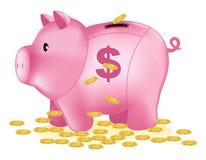 Banco rosado con la muestra de dólar y las monedas de oro Fotos de archivo libres de regalías