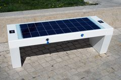 Banco solar fotografia de stock