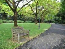 Banco solitario en parque Imagenes de archivo