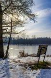 Banco en el lago congelado Foto de archivo libre de regalías