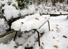 Banco sotto neve Immagini Stock