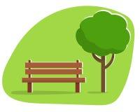 Banco sotto un albero nel parco Immagine Stock Libera da Diritti
