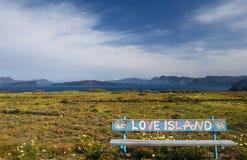 Banco sull'isola di Santorini immagine stock