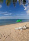 Banco sulla spiaggia Fotografia Stock