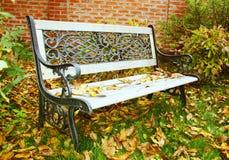 Banco in un giardino di autunno Immagini Stock Libere da Diritti