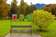 Banco in un parco della città, Slovenia Immagini Stock