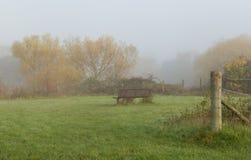 Banco vacío en un día de niebla Imagen de archivo libre de regalías