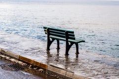 Banco vazio após a chuva em Windy Seaside - Turquia fotografia de stock royalty free