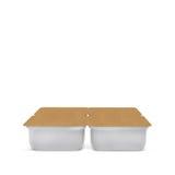 Banco vazio plástico branco para o alimento, óleo, maionese, margarina, queijo, gelado, azeitonas, salmouras, creme de leite com  Imagem de Stock