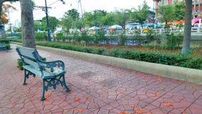 Banco verde debajo del árbol de la flor de pavo real en Bangkol Foto de archivo