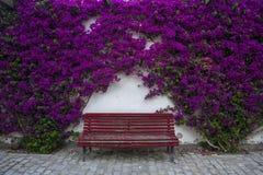 Banco vermelho bonito e relaxando entre flores roxas Imagens de Stock Royalty Free