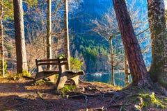 Banco vicino al lago bavarese Immagini Stock