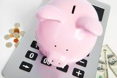 Banco y calculadora del cerdo Imagenes de archivo