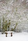 Banco y maderas en nieve Foto de archivo
