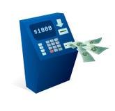 Bancomat dell'atmosfera che dà soldi via Fotografia Stock Libera da Diritti
